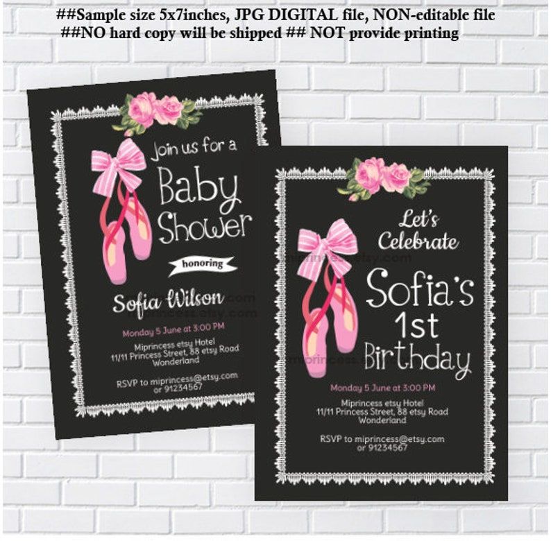 photograph relating to Etsy Printable Invitations titled Ballerina invitation birthday get together or Child Shower child female shower ballet occasion little one shower printable invite, card 769