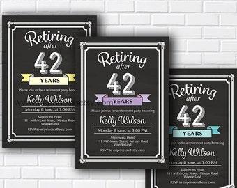 Retirement Invitations, Retirement party, Invitation, printable retirement, chalkboard invitation, retiring,  retirement invite, - card 561