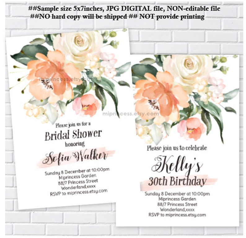 floral invitation women party  birthday invite bridal shower image 0