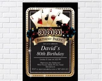 Casino invitation adult birthday party Slot machine las vegas casino gambling adult game, casino night poker  any age  card 485