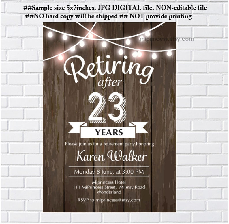 Retirement Invitation rustic theme Retirement party printable image 0