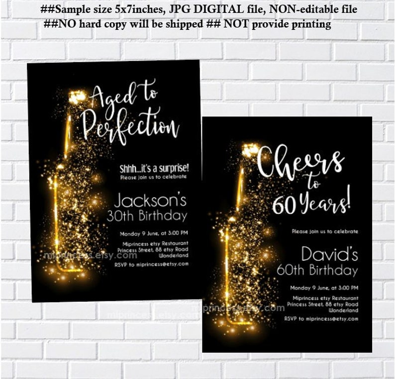 wine invitation adult birthday party Aged to Perfection cheers image 0