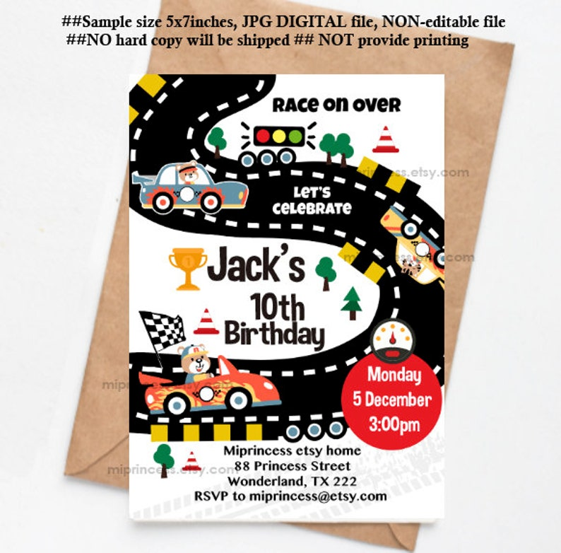 Race Car Invite Racing Birthday Invitation Boy
