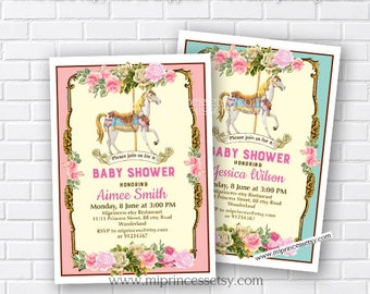 Carousel invitation, girl baby shower, Merry go round baby shower, circus baby shower, vintage carousel, baby shower, digital, card 847