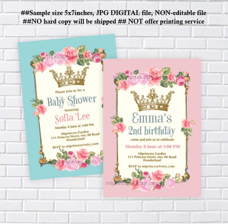 Vintage Invitation Baby Shower Birthday Elegant