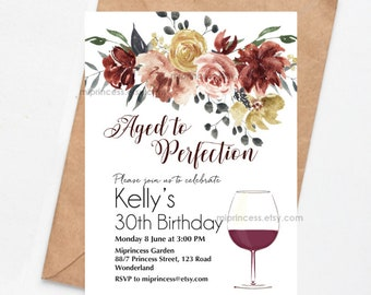 wine invitation, Aged to perfection women birthday invitation rustic fall party invite any age 30th 50th 45th 60th 80th 90 40th, 1648