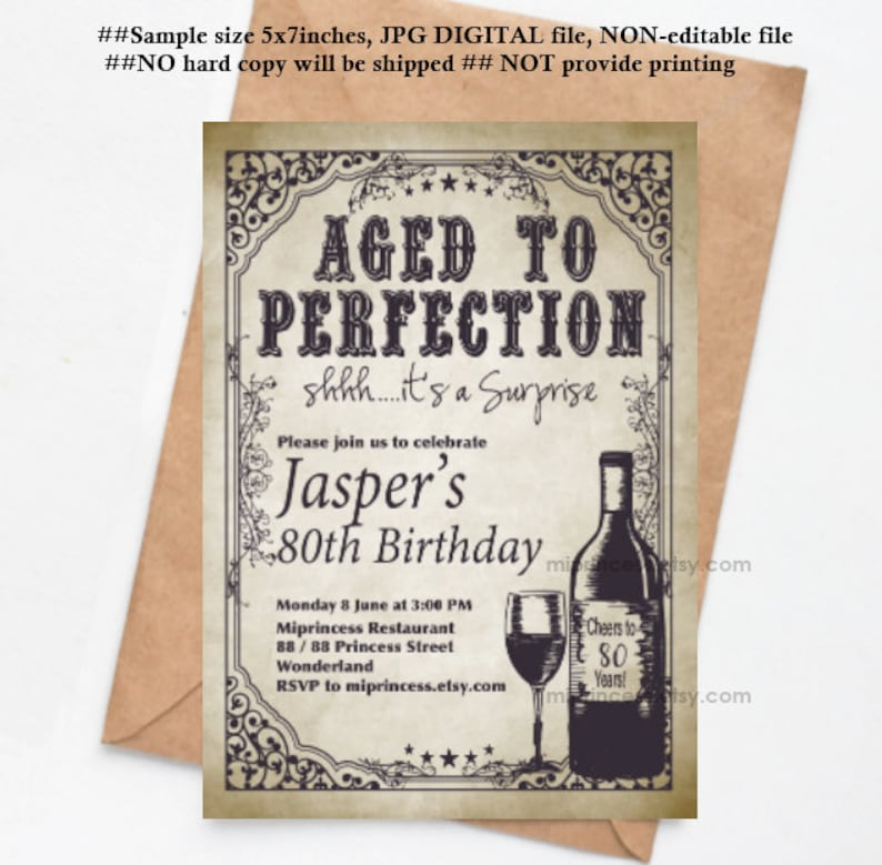 wine invitation Aged to perfection men birthday party image 0