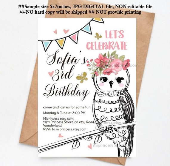 Owl Invitation Girl Birthday Party Forest Friends Woodland Party Kids Party Any Age 1st 2nd 3rd 4th 5th 6th Card 1530