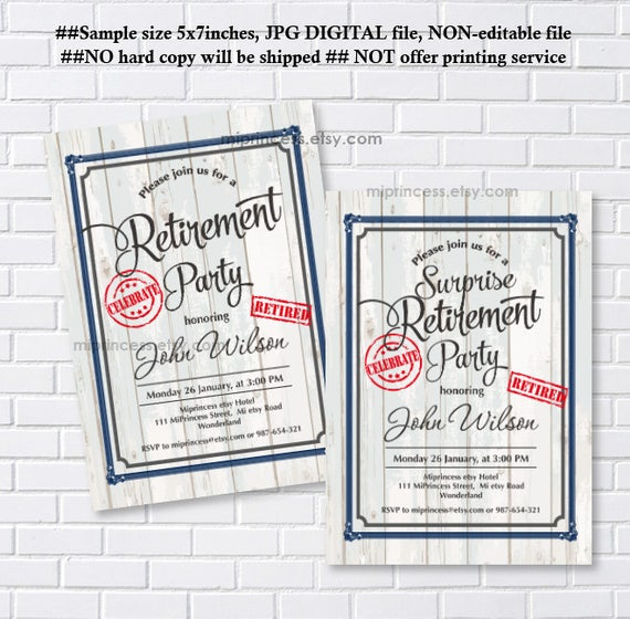 Retirement Invitation White Wood Design Men Women Celebration Rustic Fall Party Invite Wording Can Be Changed Card 1205