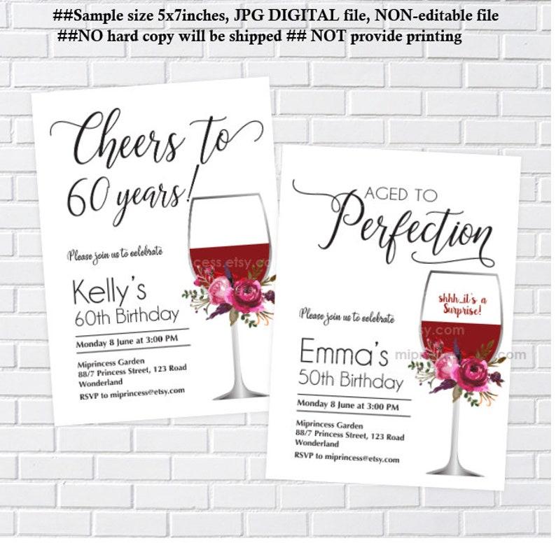 aged to perfection wine birthday invitation women birthday image 0