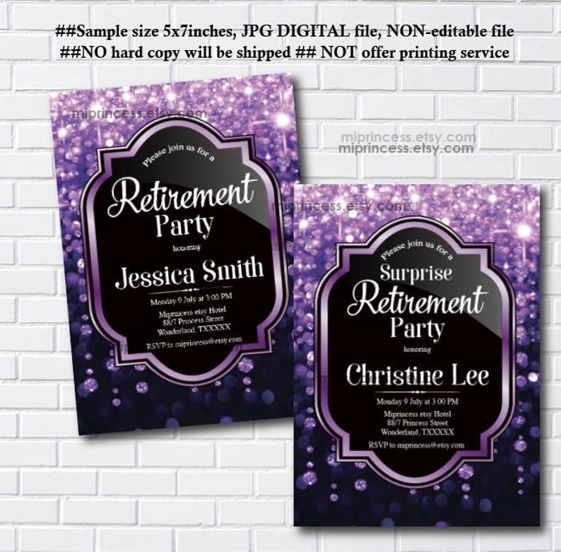 glitter purple Retirement party Invitation elegant invitation image 0