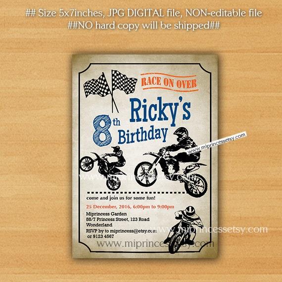 Dirt bike invitation Birthday invitation biker party boy Etsy