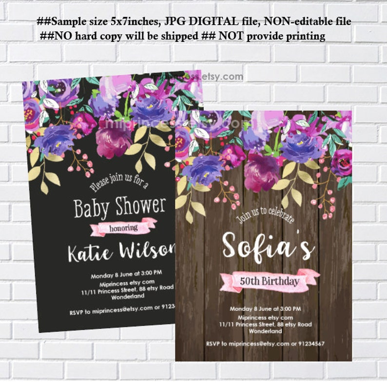 rustic invitation purple floral woman party birthday image 0