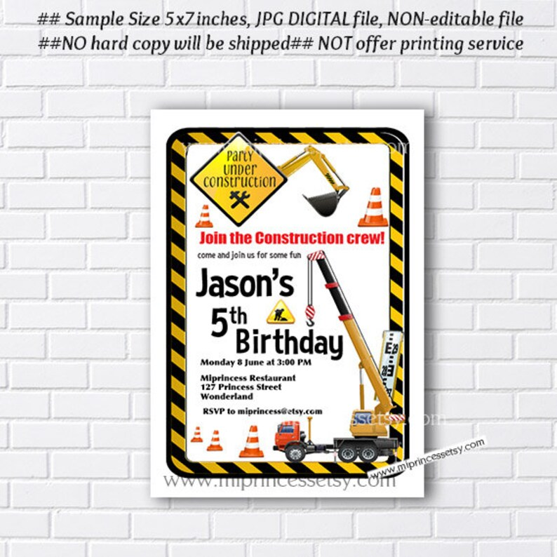 Dump Truck invitation boy birthday party Construction design image 0