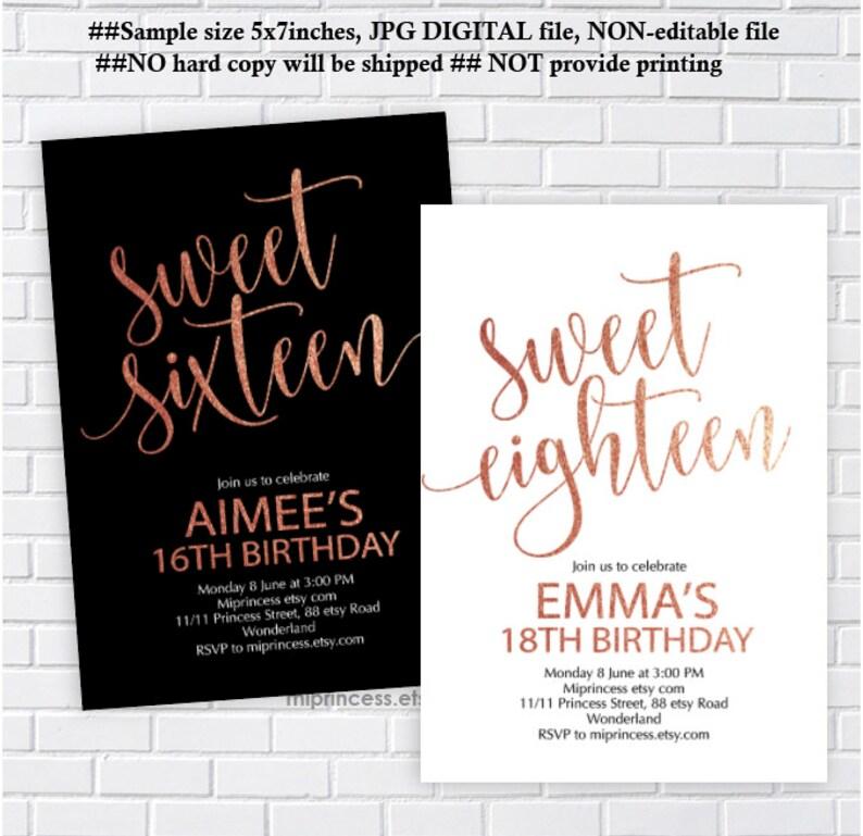Sweet Eighteen Invite Or Sixteen Rose Gold