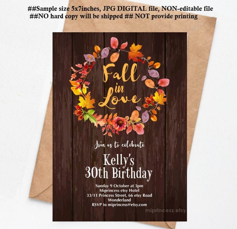 rustic fall in love invitation women party autumn theme image 0