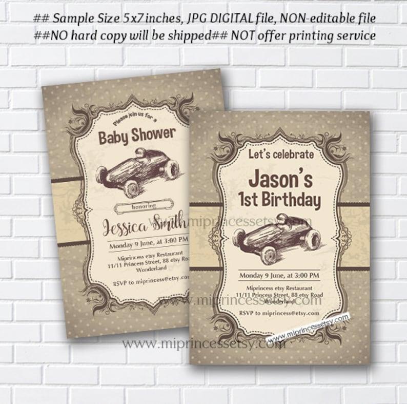 Race Car Birthday Invitation Boy Baby Shower