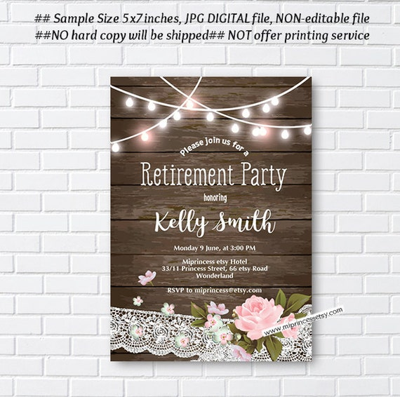 Retirement Invitations Rustic Wood Floral Invitation Surprise Party Invite Wording Can Be Changed Card 1005