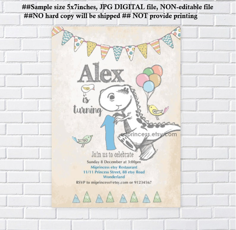 Dinosaur Invitation Boy Birthday Cute Kids