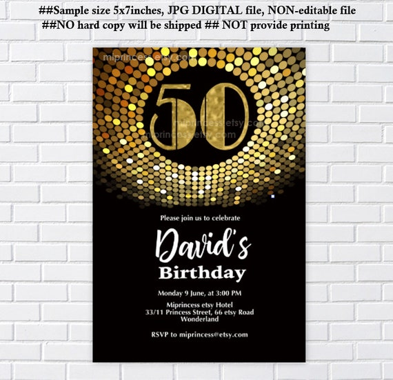 Gold Birthday Invitation Vintage Disco 70s Style Glitter