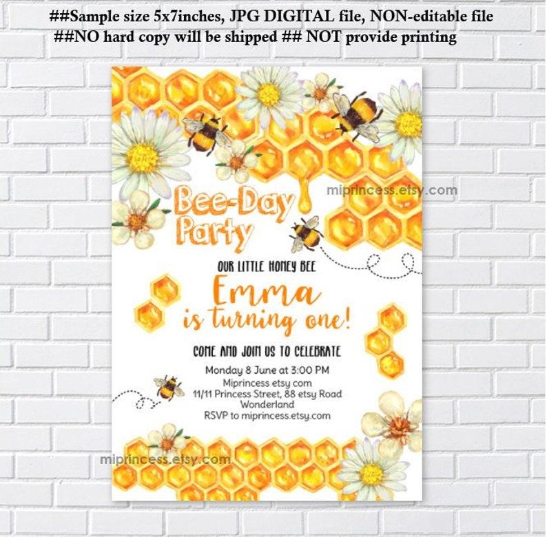 honey bee Birthday Invitation Bumble bee party little girl image 0