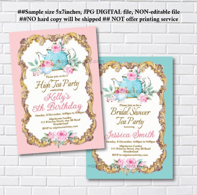 Tea Party Invitation Birthday Bridal Shower Vintage