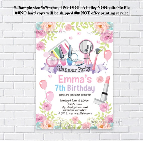 Party Girl Beauty 9th Makeup Glamour Birthday Any 8th 7h 5th Spa Age Invitation 10thCard 1290 6th Sleepover SzVpUM