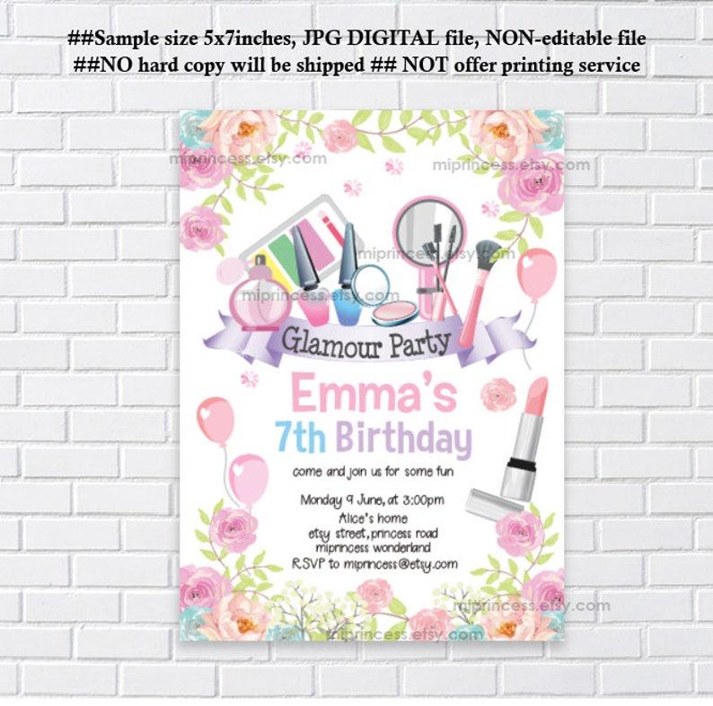 Glamour Party Invitation Makeup Birthday Spa
