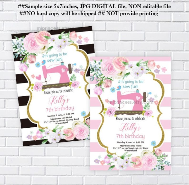 sewing party Sewing Birthday invitation girl birthday woman image 0