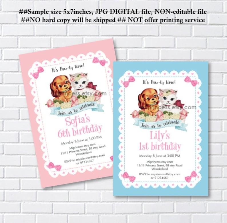 Strange Vintage Cat Dog Invitation Birthday Invitation Puppy Dog White Etsy Funny Birthday Cards Online Fluifree Goldxyz