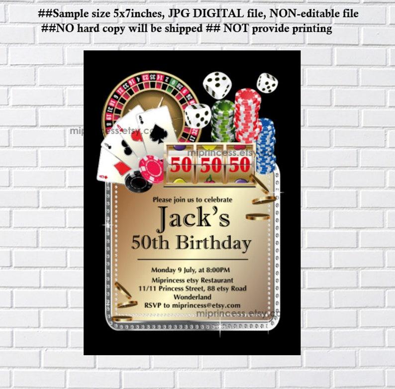Casino party birthday invitation adult birthday  gambling image 0