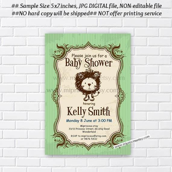 Lion Baby Shower Invitation Vintage Safari Lion Boy Baby Shower Cute Lion It S A Boy Baby Shower Digital Invite Card 258