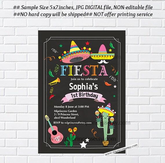 Fiesta Birthday Invitation Mexican Fiesta Fiesta Invitation