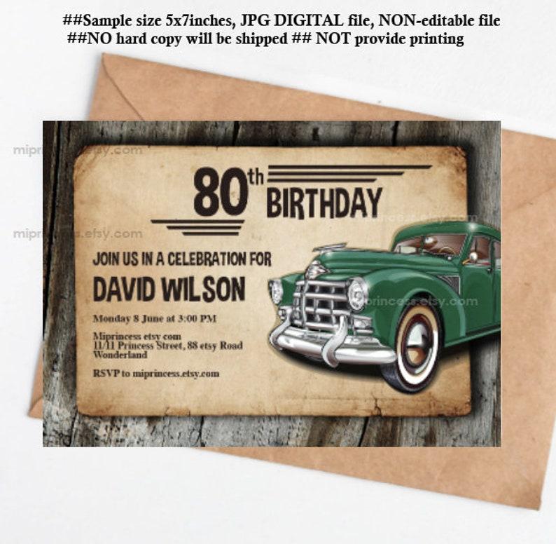 antique car invitation man birthday party vintage rustic image 0