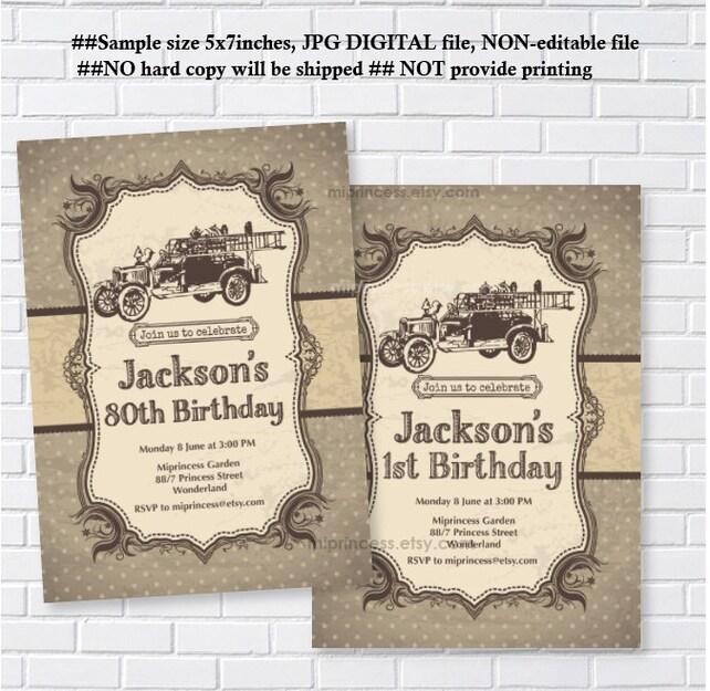 Fire Truck Invitation Birthday Boy Men Firetruck Firefighter Vintage Card 1173
