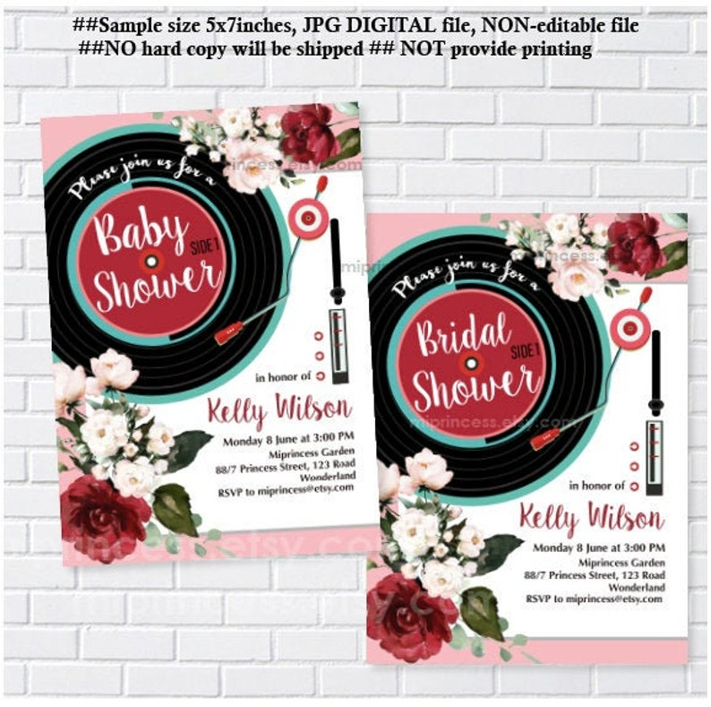 Vinyl Record invitation Oldies Rustic invite baby shower or image 0