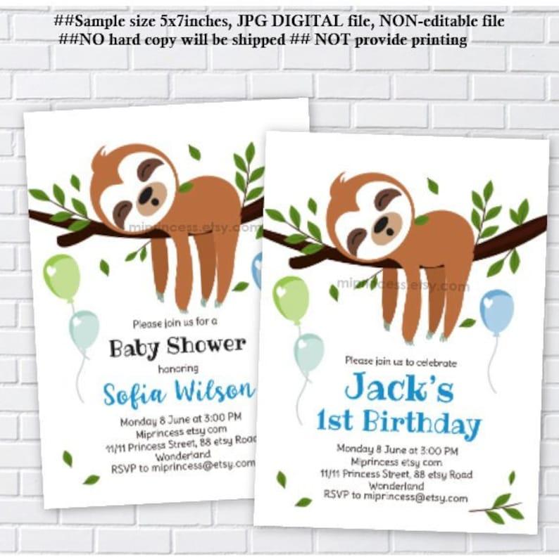 Sloth Invitation Baby Shower Boy Birthday