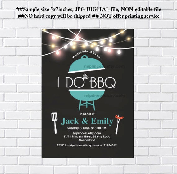 I Do Bbq Invitation Barbecue Couples Shower Engagement Party Shower Bbq Party Printable Invitation Pink Color Teal Color Card 1145