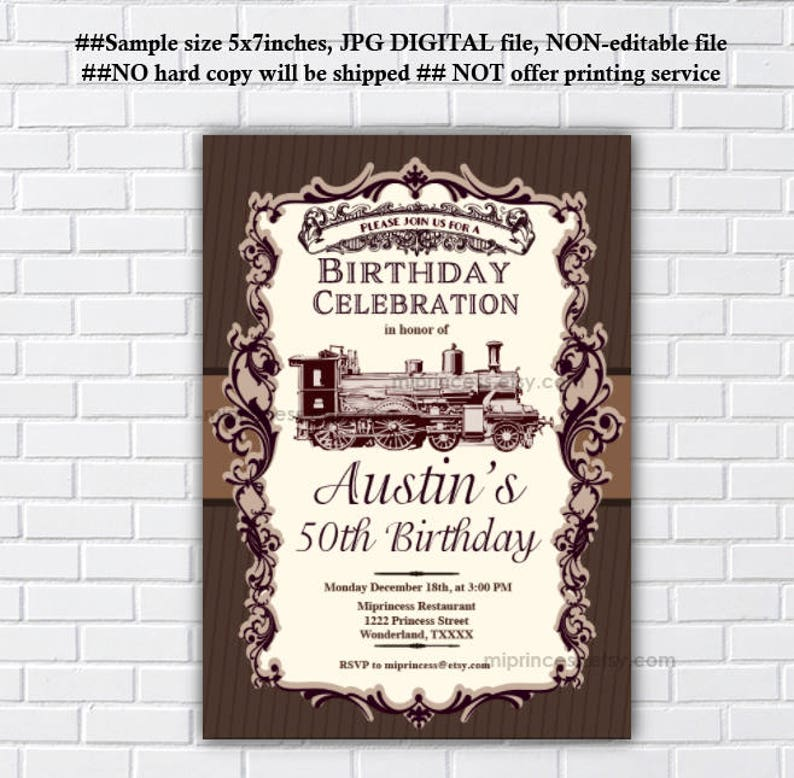 Vintage Train Birthday Invitation Adult Party