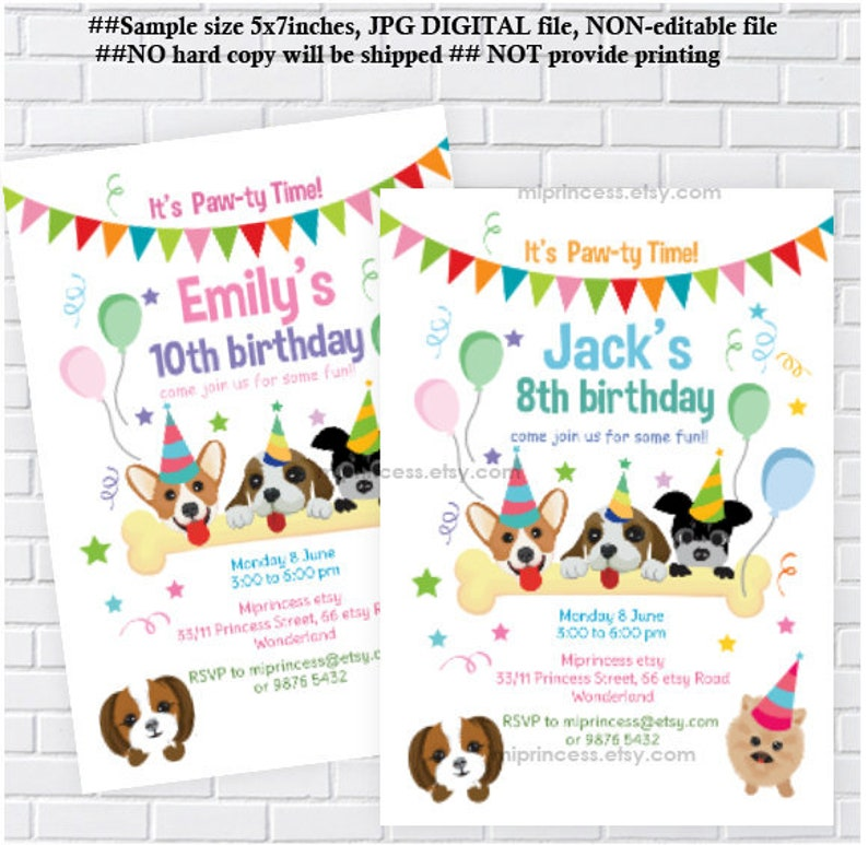 Dog Party Birthday Invitation Kids Animal Girl