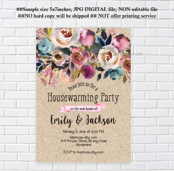 Floral Housewarming Invitation Country Rustic Floral Party Etsy