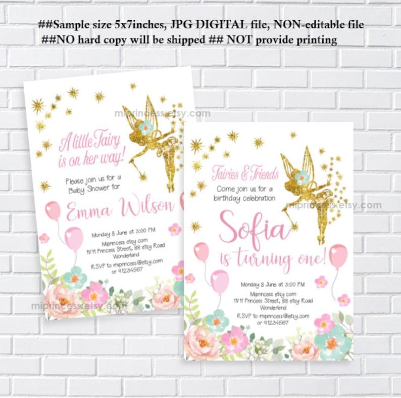 Gold Fairy Invitation Baby Shower Birthday