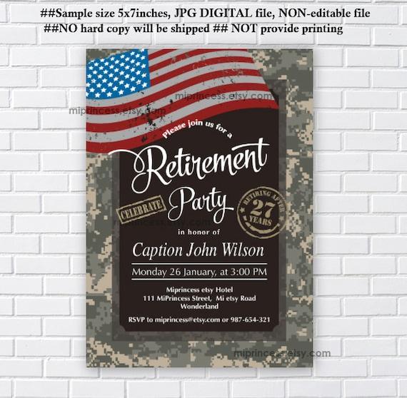 military retirement party army retirement invitation army etsy
