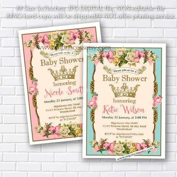 Crown Baby Shower Baby Girl Shower Vintage Baby Shower Girl Etsy