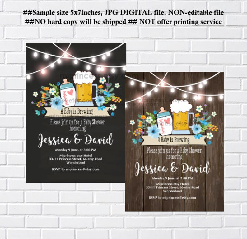 Baby Shower invitation Baby is Brewing beer dad shower co ed image 0