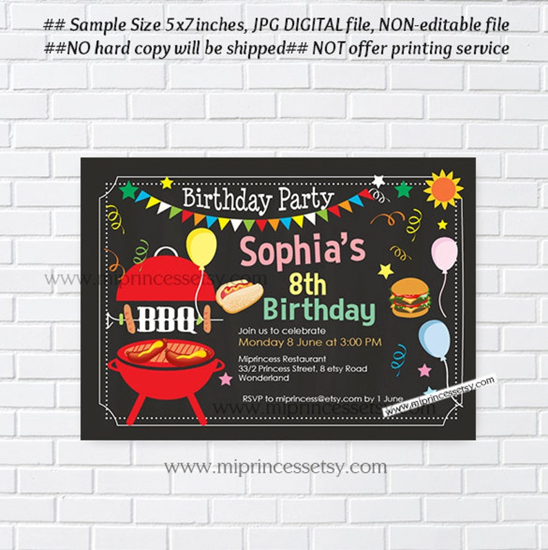 bbq invitation kids birthday party chalkboard backyard bbq image 0