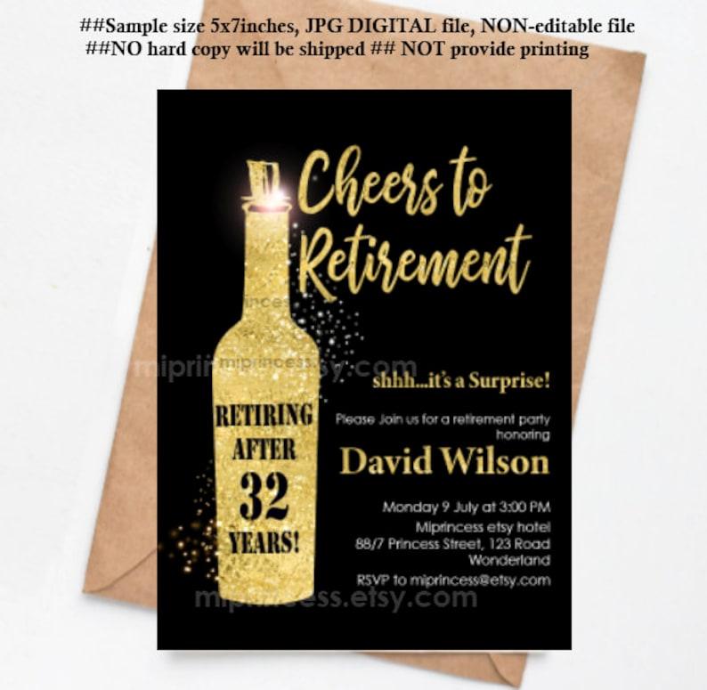 Retirement invitation wine theme cheers retirement party image 0