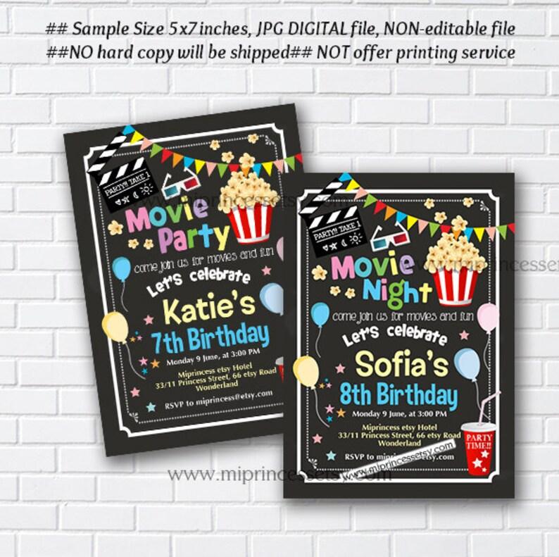 movie party invitation movie party movie night  kids birthday image 0