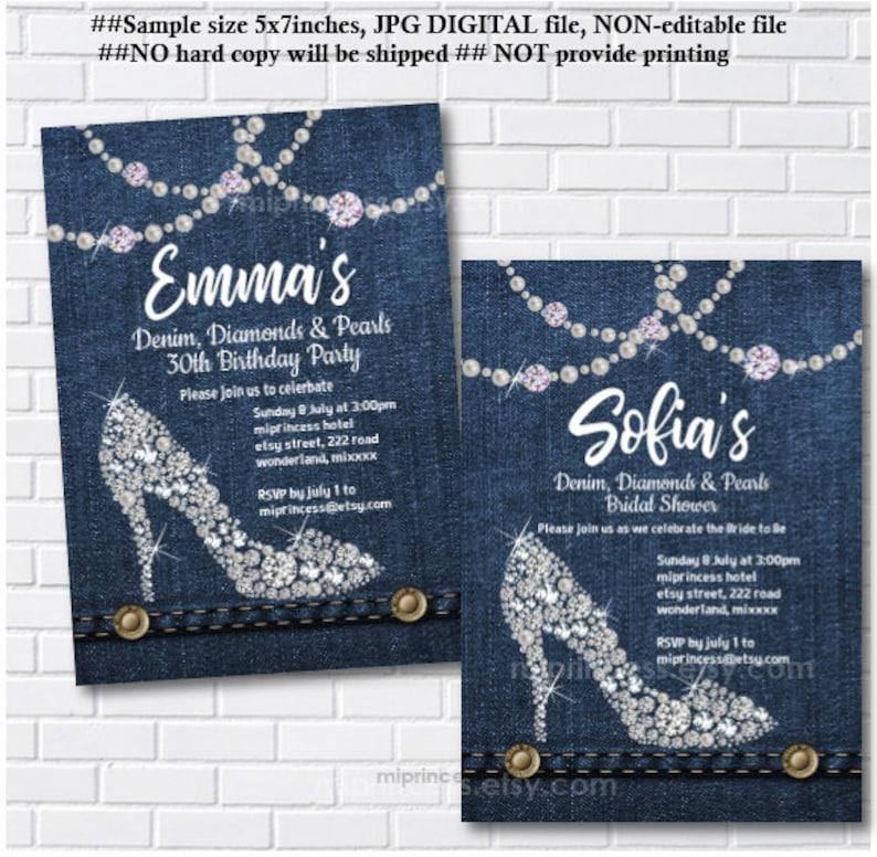 Denim invitation denim diamond and pearls birthday party image 0