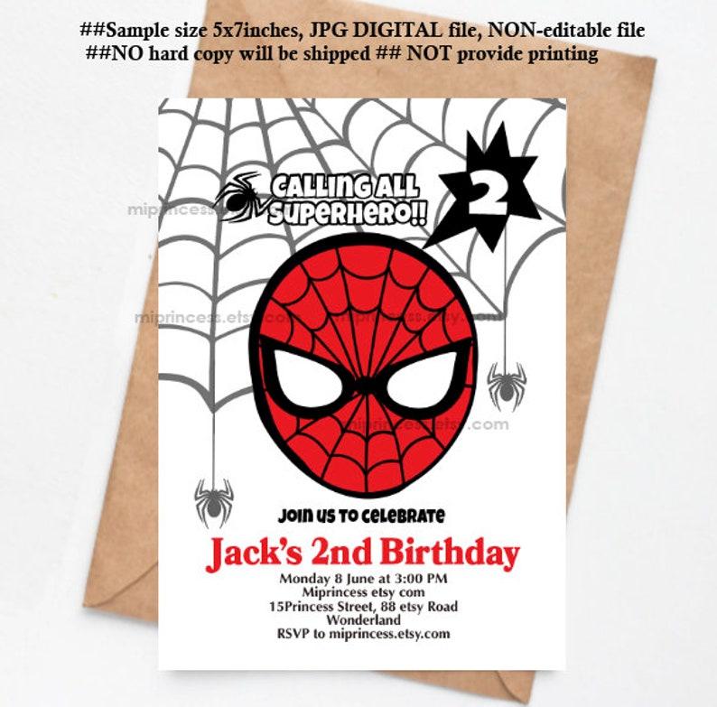 Spiderman invitation Superhero Birthday Invitation boy image 0